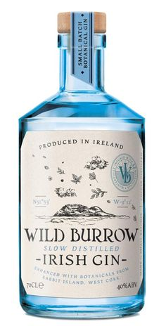 This Wild Burrow Irish Gin is enhanced with botanicals from Rabbit Island in west Cork Alcohol Bottles, Liquor Bottles, Vodka Bottle, Bottle Candles, West Cork, Whisky, Cocktails, Alcoholic Drinks, Cocktail Recipes