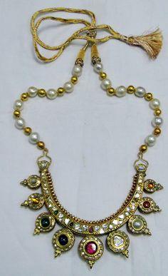 22 K gold diamond necklace-Kundan diamond polki gold choker-11250 - www.tribalexport.com