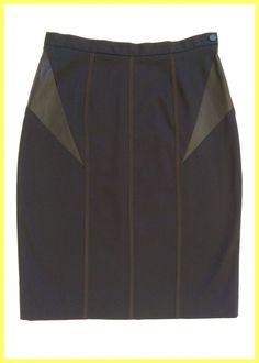 NWT $290 RAG & BONE COTTON NAVY GLENNA SKIRT LEATHER INSERTS Sz 28, 4 6 8 S M #ragbone #StraightPencil
