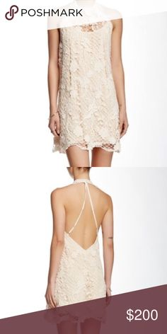 "Free People Lace dress NWT Stunning lace dress by Free People! Halter neck, open back with adjustable straps. Approx 41"" in length. 100% cotton and lining is polyester. Will be coming in next week! Free People Dresses Backless"