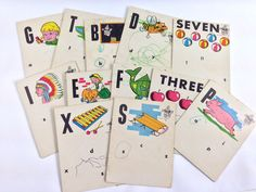 Your place to buy and sell all things handmade Flashcards For Kids, Romper Room, Junk Journal, Scribble, Vintage Cards, Vintage Children, Little Ones, My Etsy Shop, Writing