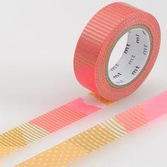 Masking tape à motifs orange fluo et or