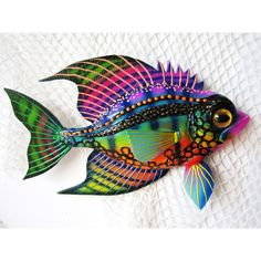 Fish art wall sculpture ($34) ❤ liked on Polyvore