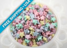 10mm Tiny Plastic Pastel Star Beads  200 pc set by delishbeads, $3.95
