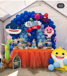 Baby-Shark-Theme trending kids birthday party themes for a rocking party in 2019 Baby Boy 1st Birthday Party, Baby Party, Shark Party Decorations, Baby Shark, Party Tables, Dessert Table, Party Ideas, Girls Party Decorations, Birthday Party Boys