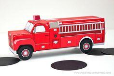Red Vintage Fire Truck Favor Box : Print at Home Firetruck Gift Box Fireman Birthday, Fireman Party, Birthday Box, Birthday Ideas, Birthday Crafts, Birthday Parties, Diy Supplies, Party Supplies, Balloon House