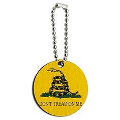 Gadsden Flag Don't Tread On Me Wood Wooden Round Key Chain - http://www.cwebmarket.com/women/women-accessories/keyrings-keychains/gadsden-flag-dont-tread-on-me-wood-wooden-round-key-chain/