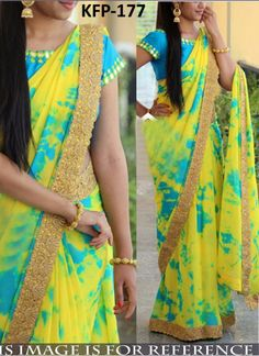 Buy Yellow Shibori Printed Georgette Saree online in India at best price.Step out in style adorning this beautiful yellow - blue saree. This georgette saree look has been enhanced Shibori Sarees, Georgette Sarees, Kota Sarees, Half Saree Designs, Saree Blouse Designs, Blouse Patterns, Simple Sarees, Simple Anarkali, Trendy Sarees