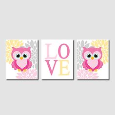 Hey, I found this really awesome Etsy listing at https://www.etsy.com/listing/163636768/floral-owl-nursery-artwork-pink-gray