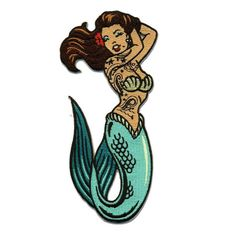 Purple Leopard Boutique - Pin Up Girl Tattoo Mermaid Patch Embroidered Iron On Applique, $14.00 (http://www.purpleleopardboutique.com/pin-up-girl-tattoo-mermaid-patch-embroidered-iron-on-applique/)