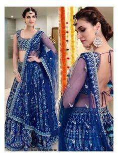 Blue Bridal lehenga Choli Textile Mall Textile Now at TextileMall. Indian Lehenga, Blue Lehenga, Indian Gowns, Designer Bridal Lehenga, Indian Wedding Lehenga, Lehenga Choli Designs, Ghagra Choli, Silk Dupatta, Indian Bridal Outfits