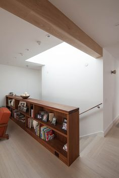 bookcase railing, this is what I want to do. Only in white and facing the steps to not loose the space.