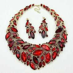 Ruby Red Statement Necklace | Ruby Red Aurora Borealis Statement Necklace Set