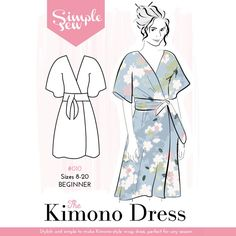 The Kimono dress & jumper sewing pattern by designer Simple Sew, find out more and read reviews of this dressmaking sewing pattern here!