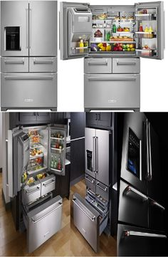 """KitchenAid  Model# KRMF706ESS: 25.8 Cu. Ft. 5-Door, French Door Stainless Steel Refrigerator $3,419.99 [70"""" Tall, 36"""" Wide, 36"""" Deep] Dual-temperature management system-independently control fresh and freezer compartments. Air filtration to minimize odors and keep produce fresh longer. 4 adjustable spill-proof shelves. 2 soft-closer drawers-left drawer with 5 preset temperatures for meat, drinks, marinating and more.Right drawer -Produce Preserver for fruits and vegetables."""