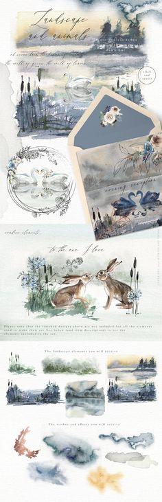 Watercolor Wedding Invitations Leaf Wreath Clipart