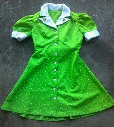 Vintage green mini baby doll waitress dress lolita goth 60s 70 hippie boho 3 | eBay