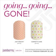 Just Peachy Glossy, Confetti Cake Glossy, are retiring on February 29th at 11:59pm MT Jamminmartha.jamberry.com