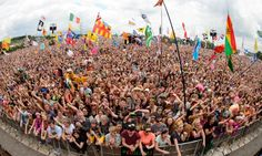 Glastonbury view of the crowd from the Pyramid stage