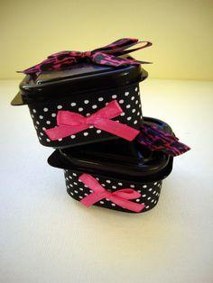 Gorgeous lolita style tubs. #diy #etsy #lolita #black #pink #rockstar #polkadots #bows #ribbon
