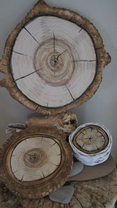 Woodland Wall Art 3D  Natural Wood Stump Wall Hanging Plaques -Tree Ring Art