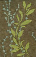 TRANSITIONS TR20 Hand Tufted Nylon Wool Rug (TR20)  Gray background with grass green and blue leaf accents - nursery rug