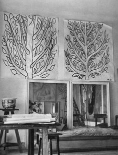 The studio of Matisse during the period he was working on the The Chapelle du Rosaire in Vence.