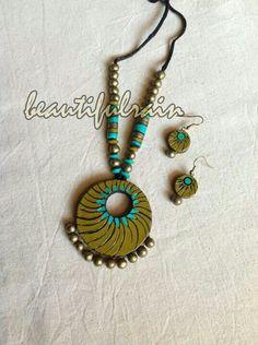 Funky Jewelry, Diy Jewelry, Jewelery, Handmade Jewelry, Fashion Jewelry, Jewelry Design, Jewelry Making, Terracotta Jewellery Making, Terracotta Jewellery Designs