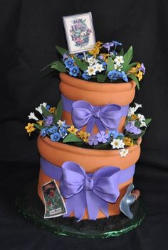 Flower Pot Cake by Custom Cakes by Susan Pretty Cakes, Cute Cakes, Beautiful Cakes, Amazing Cakes, Crazy Cakes, Fancy Cakes, Unique Cakes, Creative Cakes, Fondant Cakes