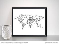 2 Abstract geometric world maps in black and white, polygonal line art, modern, minimalist wall art for your home DOWNLOAD >> PRINT >> HANG >> ENJOY YOU WILL RECEIVE (by INSTANT DOWNLOAD) both prints in multiple sizes: 7x5, 10x8, 14x11 and 20x16 JPG files in high quality (300 dpi) for perfect prints FREE CUSTOM SIZES If you need any other size (free of charge), please contact me. If you need a printed item (art print, mug, t-shirt, bag or pillow), please contact me. INSTA...