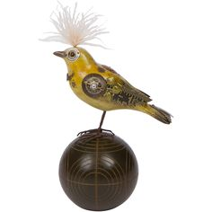 handmade tanager bird on croquet ball, steampunk handmade in usa from MUSEUM OUTLETS