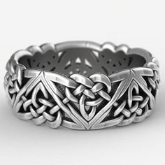 A variation on the classic Celtic triangle knot, this more bold motif embodies both the classic elements of Celtic woven designs with more angular and modern design elements. With each knot linked to eachother in one unbroken pattern around the entire ring, these knots represent the