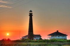 Lighthouse at Point Bolivar, Texas.