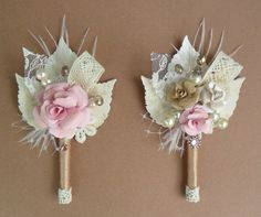 New - Vintage /Antique inspired boutonniere with Crystals -