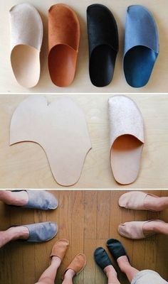 "DIY simple home slippers. Might be good for those with a ""no-shoe-rule"" in their home. These would be good to have for their guests. Inexpensive and easy."