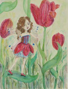 Fairy Watercolor Portrait  Custom Commission 12 x 18 by KuriCorvid, $65.00