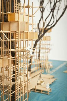 A proposal for temporarly wooden structure to host an art festival somewhere in the woods... by Thomas Lommée & Christiane Hoegner...
