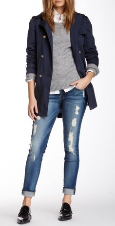 Neutral layers and distressed denim.