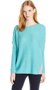 Magaschoni Women's Color Block Pullover with Rib, Cool Mint/Stone, X-Small ❤ Magaschoni Women's Sportswear