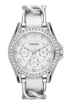Women's Fossil 'Riley' Crystal Bezel Leather Strap Watch