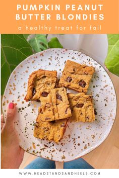 These pumpkin peanut butter chickpea blondies are the perfect healthy dessert for fall! The recipe is super easy and only calls for 10 ingredients.