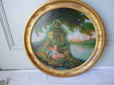 Vintage French ROMANTIC CHATEAU Painting  #ROMANTIC