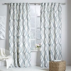 """Master, in blue sage 96"""". $39/ea on special (don't know what date that'll end). Need 4. **Pairs only w/Madison duvet** Cotton Canvas Scribble Lattice Curtain - Blue Sage"""