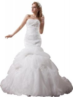 GEORGE BRIDE Strapless Lace Over Satin Chapel Train Bridal Dress With Flower Waistband