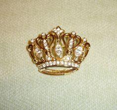 KJL Crown Brooch - Vintage Kenneth J Lane Avon Jewelry - Signed - In Original Box - FREE Shipping
