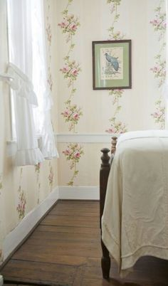 Spare Bedroom idea, I love old timey......beautiful pattern simple bedding and breezy curtains.