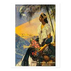 #Vera Cruz Mexico night beach vintage travel Postcard - #travel #trip #journey #tour #voyage #vacationtrip #vaction #traveling #travelling #gifts #giftideas #idea