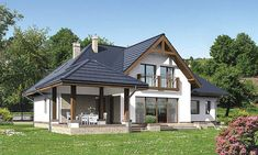 projekt Murator Niezbędny (z wentylacją mechaniczną) Beautiful House Plans, Beautiful Homes, Bungalow Style House, Two Story House Design, Home Building Design, Modern Farmhouse Exterior, Village Houses, House Goals, Future House