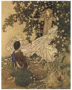 Fairy Tale Garden of Paradise On His Knees to Her Vintage Repro Photo Art Print Paradise Painting, Paradise Garden, Edmund Dulac, Ink Painting, Childrens Books, Illustrators, Photo Art, Fairy Tales, Hand Painted