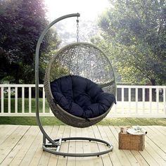 Hide Outdoor Patio Swing Chair In Gray Navy